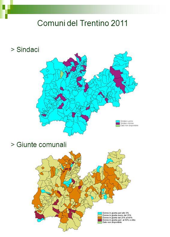 Comuni del Trentino 2011 > Consigli comunali Fonte: Servizio autonomie locali della Provincia autonoma di Trento Elaborazione dati: Osservatorio statistico di genere