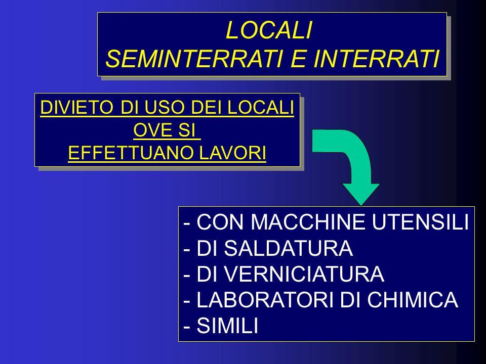 LOCALI SEMINTERRATI E INTERRATI LOCALI SEMINTERRATI E INTERRATI - CON MACCHINE UTENSILI - DI SALDATURA - DI VERNICIATURA - LABORATORI DI CHIMICA - SIM