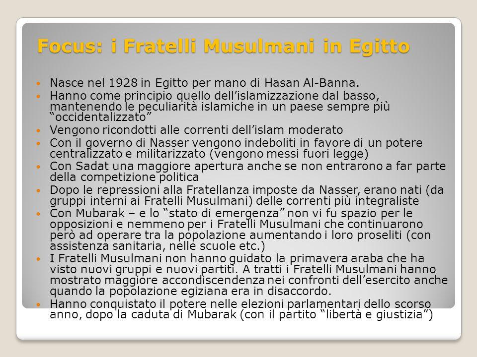 Focus: i Fratelli Musulmani in Egitto Nasce nel 1928 in Egitto per mano di Hasan Al-Banna. Hanno come principio quello dell'islamizzazione dal basso,