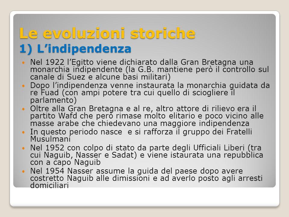 Le evoluzioni storiche 1) L'indipendenza Nel 1922 l'Egitto viene dichiarato dalla Gran Bretagna una monarchia indipendente (la G.B. mantiene però il c