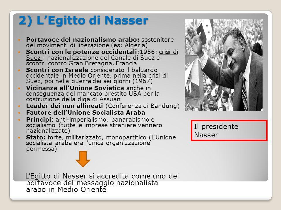 2) L'Egitto di Nasser Portavoce del nazionalismo arabo: sostenitore dei movimenti di liberazione (es: Algeria) Scontri con le potenze occidentali:1956