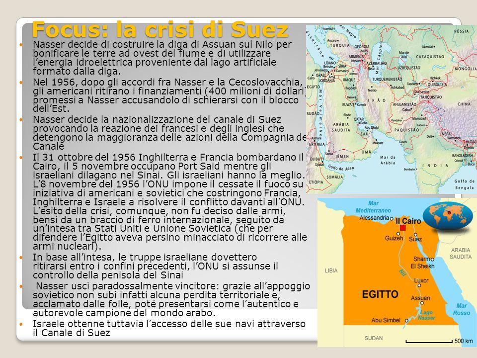 Focus: la crisi di Suez Nasser decide di costruire la diga di Assuan sul Nilo per bonificare le terre ad ovest del fiume e di utilizzare l'energia idroelettrica proveniente dal lago artificiale formato dalla diga.