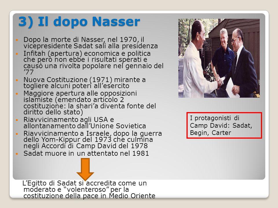 3) Il dopo Nasser Dopo la morte di Nasser, nel 1970, il vicepresidente Sadat salì alla presidenza Infitah (apertura) economica e politica che però non