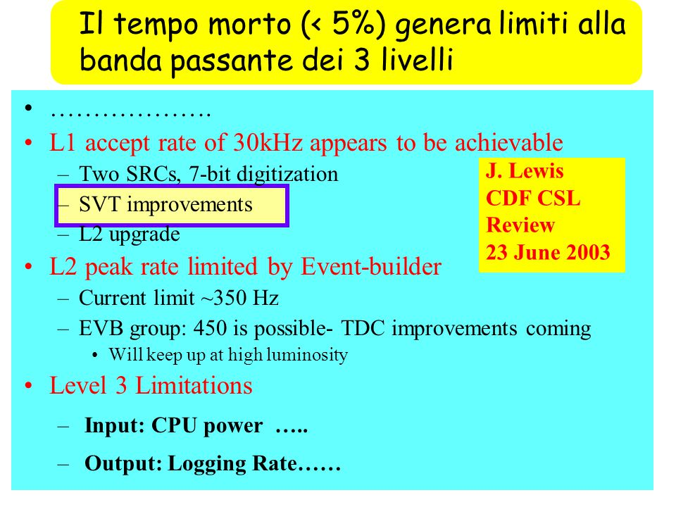 ………………. L1 accept rate of 30kHz appears to be achievable –Two SRCs, 7-bit digitization –SVT improvements –L2 upgrade L2 peak rate limited by Event-bui