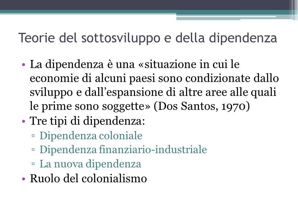 Teorie del sottosviluppo e della dipendenza La dipendenza è una «situazione in cui le economie di alcuni paesi sono condizionate dallo sviluppo e dall'espansione di altre aree alle quali le prime sono soggette» (Dos Santos, 1970) Tre tipi di dipendenza: ▫Dipendenza coloniale ▫Dipendenza finanziario-industriale ▫La nuova dipendenza Ruolo del colonialismo