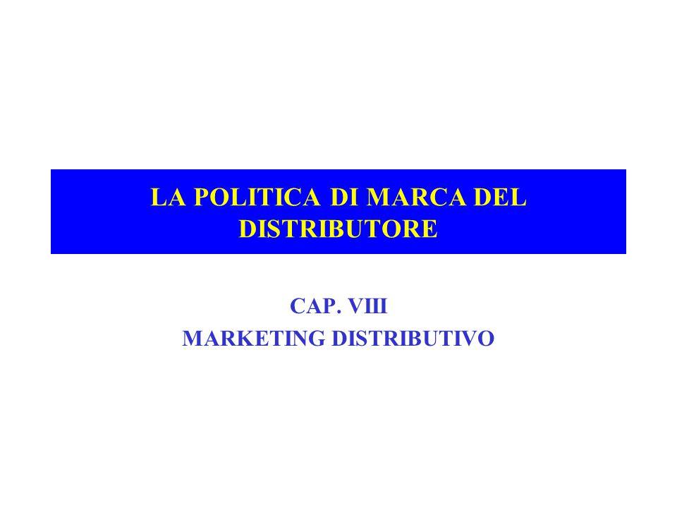 IL RUOLO DEL DISTRIBUTORE NELLA CREAZIONE DEL VALORE DI MARKETING +IL FONDAMENTO TECNOLOGICO DELLA MARCA +INNOVAZIONE ( prevalenza R&D ) E DIFFERENZIAZIONE DEL PRODOTTO ( prevalenza marketing ) : *NASCITA DI UNA CATEGORIA *PROLIFERAZIONE DELLE MARCHE IN UNA DATA CATEGORIA *ESTENSIONE DELLA MARCA +CON LA DIFFERENZIAZIONE AUMENTA LA PENETRAZIONE, IL CONSUMO PROCAPITE E IL PREZZO DI RESISTENZA +LA MARCA COMMERCIALE SI INSERISCE NEL PROCESSO DI DIFFERENZIAZIONE DELL'OFFERTA: *INTEGRAZIONE VERTICALE ASCENDENTE SOLO NEL MARKETING *SVILUPPO TRASVERSALE *OBIETTIVI DI CATEGORIA E NON DI PRODOTTO *RIVALITA' ORIZZONTALE E VERTICALE CON LEVE SPECIFICHE +POSIZIONAMENTO DELLA MARCA INDUSTRIALE E COMMERCIALE *LA QUALITA' NELLE SUE TRE DIMENSIONI ( Tab 8.1/1-2 )( Tab 8.1/1-2 ) *IL FABBISOGNO DI COMUNICAZIONE E LA DIVERSITA' DEL CLAIM *IL MARGINE COMMERCIALE *LA VISIBILITA' IN PUNTO VENDITA