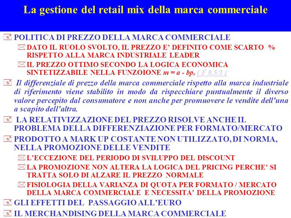 La gestione del retail mix della marca commerciale +POLITICA DI PREZZO DELLA MARCA COMMERCIALE *DATO IL RUOLO SVOLTO, IL PREZZO E' DEFINITO COME SCART