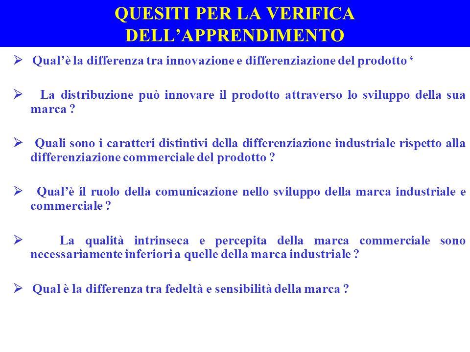 QUESITI PER LA VERIFICA DELL'APPRENDIMENTO  Qual'è la differenza tra innovazione e differenziazione del prodotto '  La distribuzione può innovare il