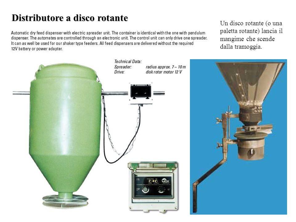 Distributore a disco rotante Un disco rotante (o una paletta rotante) lancia il mangime che scende dalla tramoggia.