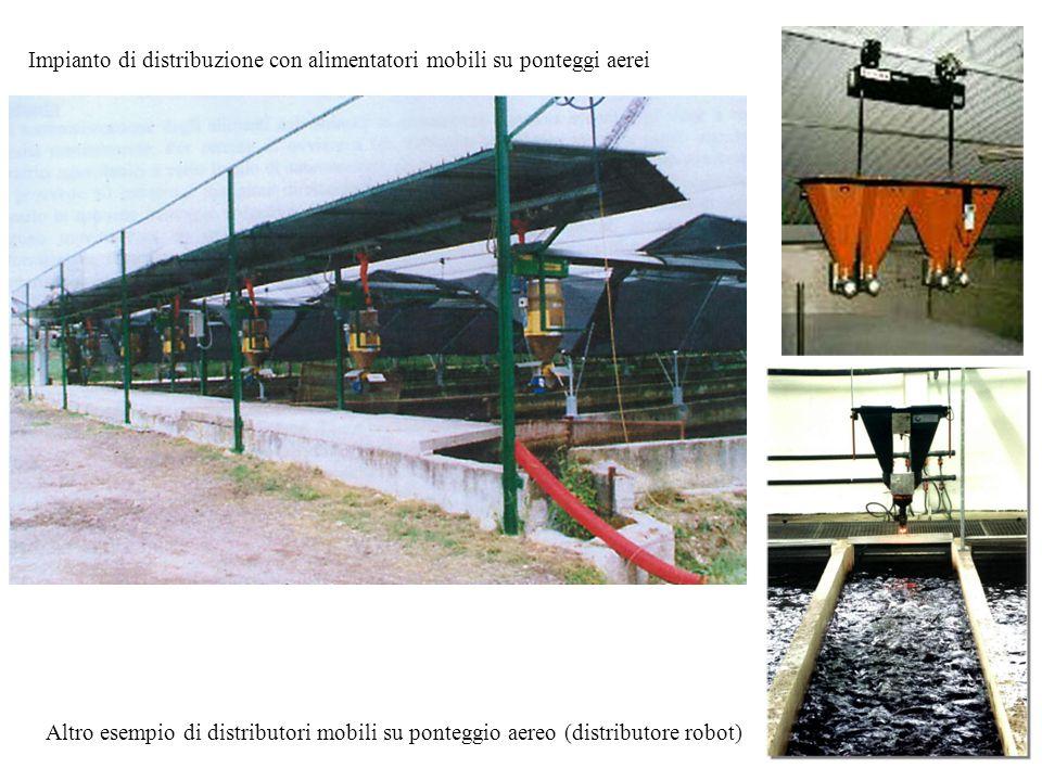 Impianto di distribuzione con alimentatori mobili su ponteggi aerei Altro esempio di distributori mobili su ponteggio aereo (distributore robot)