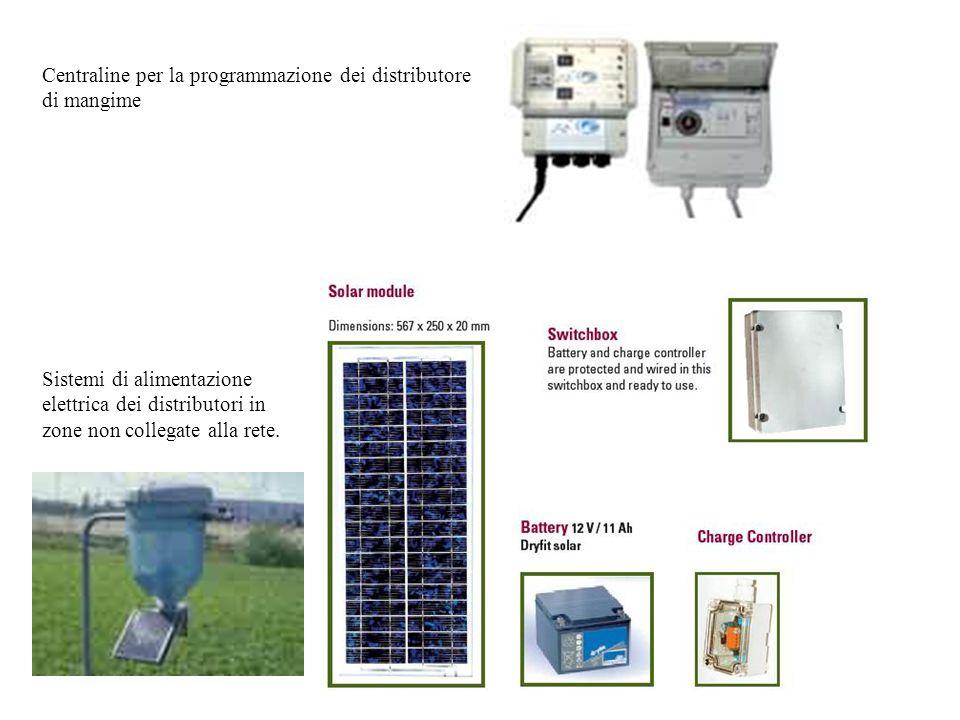 Centraline per la programmazione dei distributore di mangime Sistemi di alimentazione elettrica dei distributori in zone non collegate alla rete.