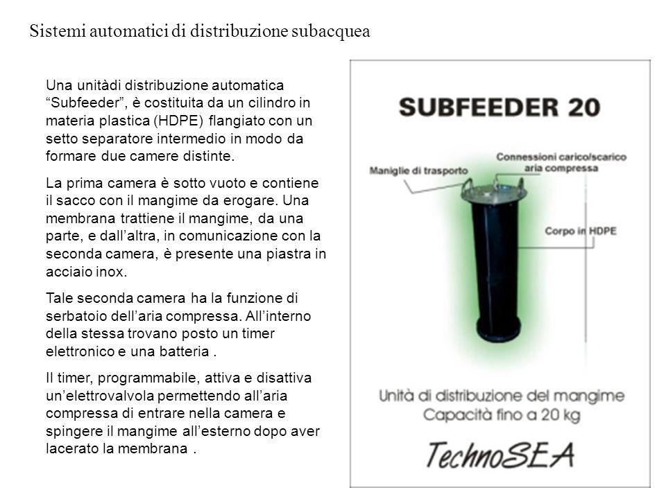 """Sistemi automatici di distribuzione subacquea xxx Una unitàdi distribuzione automatica """"Subfeeder"""", è costituita da un cilindro in materia plastica (H"""