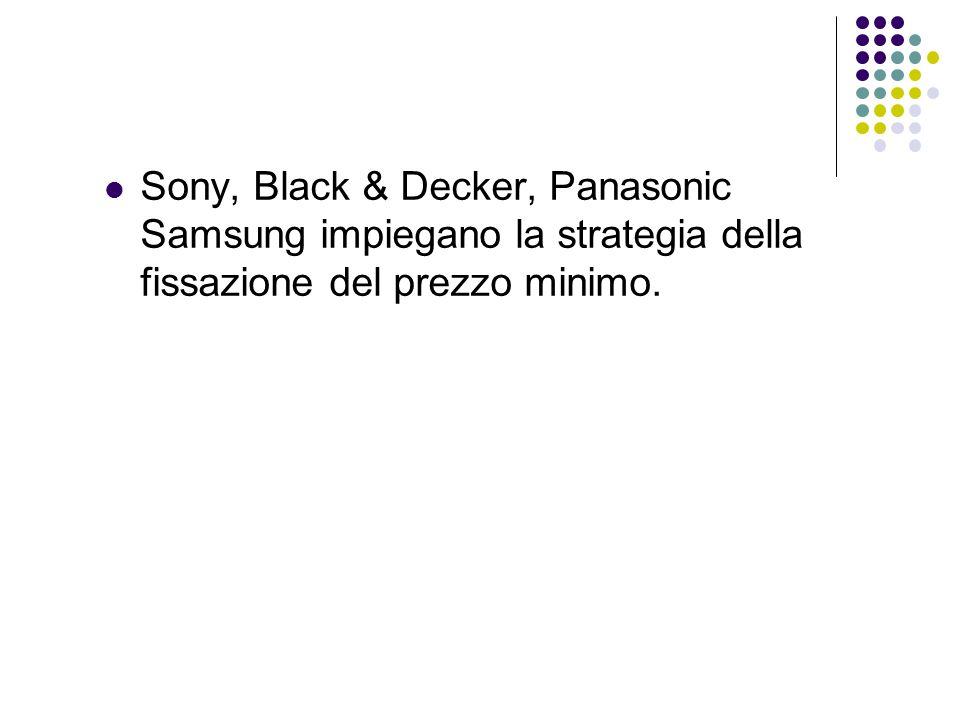 Sony, Black & Decker, Panasonic Samsung impiegano la strategia della fissazione del prezzo minimo.