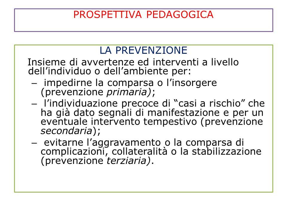 PROSPETTIVA PEDAGOGICA LA PREVENZIONE Insieme di avvertenze ed interventi a livello dell'individuo o dell'ambiente per: – impedirne la comparsa o l'in