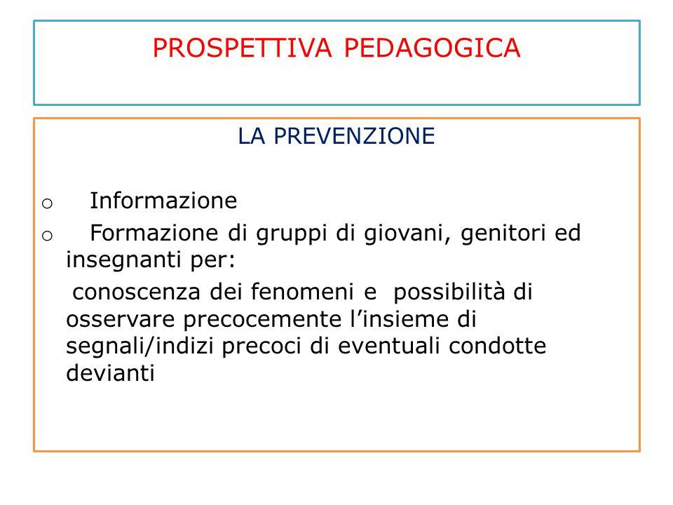 PROSPETTIVA PEDAGOGICA LA PREVENZIONE o Informazione o Formazione di gruppi di giovani, genitori ed insegnanti per: conoscenza dei fenomeni e possibil