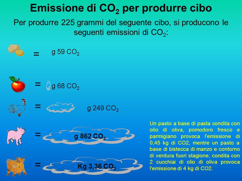 Emissione di CO 2 per produrre cibo Per produrre 225 grammi del seguente cibo, si producono le seguenti emissioni di CO 2 : = = = = = g 59 CO 2 g 68 C