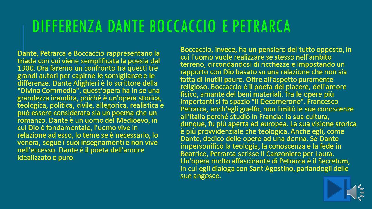 DIFFERENZA DANTE BOCCACCIO E PETRARCA Dante, Petrarca e Boccaccio rappresentano la triade con cui viene semplificata la poesia del 1300.