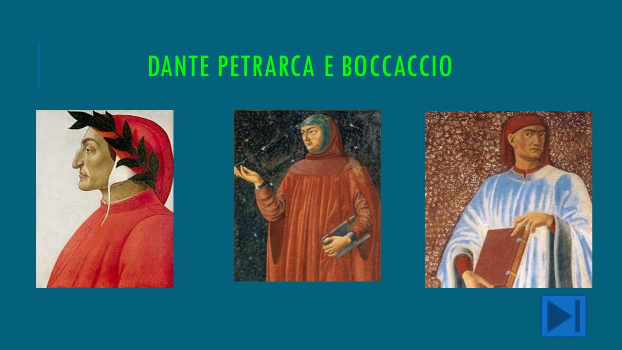 DIFFERENZA DANTE BOCCACCIO E PETRARCA Dante, Petrarca e Boccaccio rappresentano la triade con cui viene semplificata la poesia del 1300. Ora faremo un