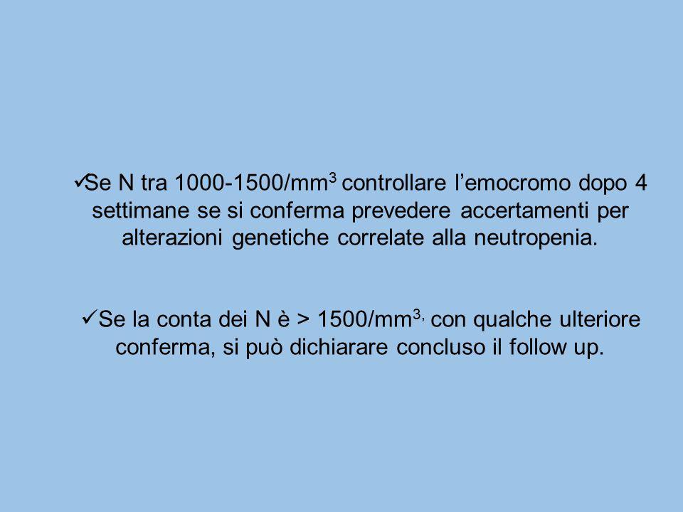 Se N tra 1000-1500/mm 3 controllare l'emocromo dopo 4 settimane se si conferma prevedere accertamenti per alterazioni genetiche correlate alla neutrop