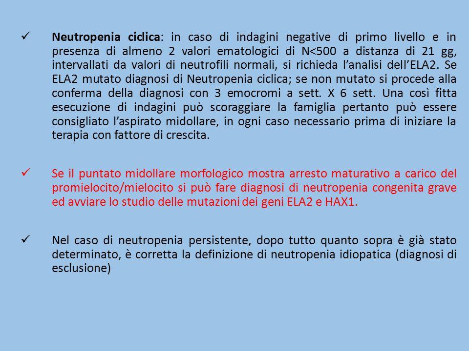 Neutropenia ciclica: in caso di indagini negative di primo livello e in presenza di almeno 2 valori ematologici di N<500 a distanza di 21 gg, interval