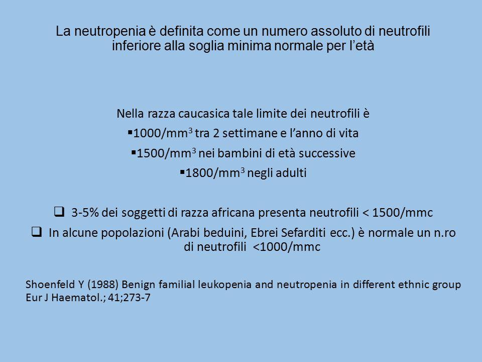La neutropenia è definita come un numero assoluto di neutrofili inferiore alla soglia minima normale per l'età Nella razza caucasica tale limite dei n