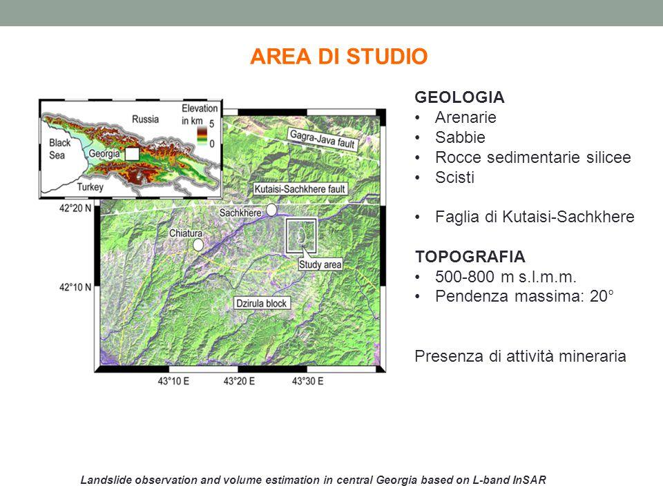 Landslide observation and volume estimation in central Georgia based on L-band InSAR LAVORO SCIENTIFICO SVILUPPATO DAGLI AUTORI Stima del volume della frana Formula empirica: V=0,05 S 1,3 S=0,9 km 2 V=0,046 km 3 Coefficienti empirici fanno riferimento alla posizione del bedrock, non nota