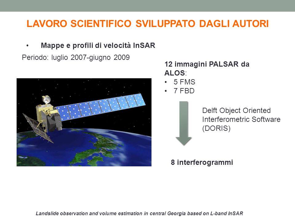 Landslide observation and volume estimation in central Georgia based on L-band InSAR LAVORO SCIENTIFICO SVILUPPATO DAGLI AUTORI Dimensioni frana: 2 km in direzione nord-sud 0,6 km nella direzione est-ovest Spostamento: 10-30 cm/anno Mappe di velocità InSAR