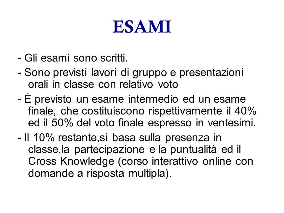 ESAMI - Gli esami sono scritti. - Sono previsti lavori di gruppo e presentazioni orali in classe con relativo voto - È previsto un esame intermedio ed