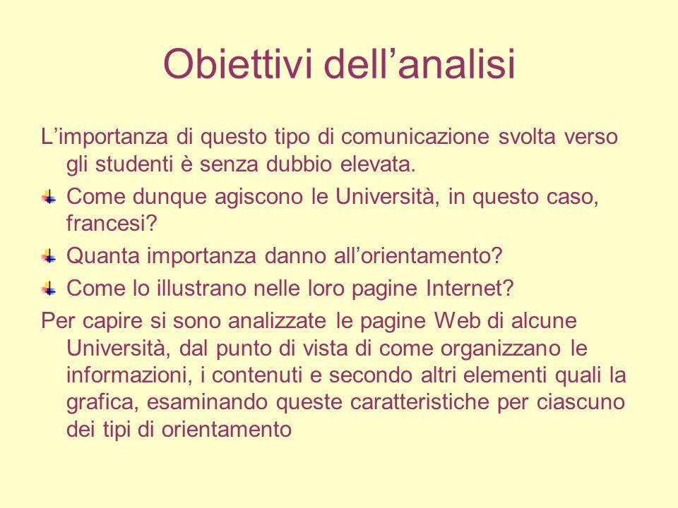 Obiettivi dell'analisi L'importanza di questo tipo di comunicazione svolta verso gli studenti è senza dubbio elevata.