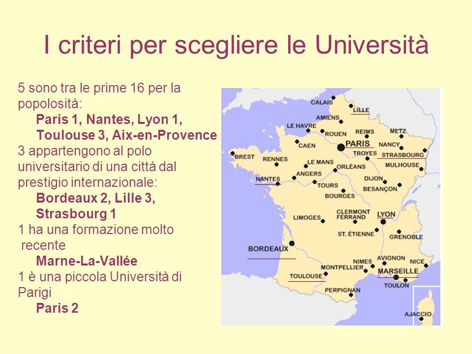 I criteri per scegliere le Università 5 sono tra le prime 16 per la popolosità: Paris 1, Nantes, Lyon 1, Toulouse 3, Aix-en-Provence 3 appartengono al polo universitario di una città dal prestigio internazionale: Bordeaux 2, Lille 3, Strasbourg 1 1 ha una formazione molto recente Marne-La-Vallée 1 è una piccola Università di Parigi Paris 2