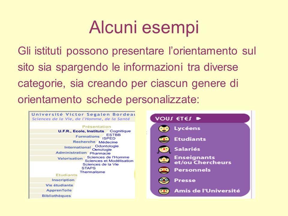 Alcuni esempi Gli istituti possono presentare l'orientamento sul sito sia spargendo le informazioni tra diverse categorie, sia creando per ciascun genere di orientamento schede personalizzate: