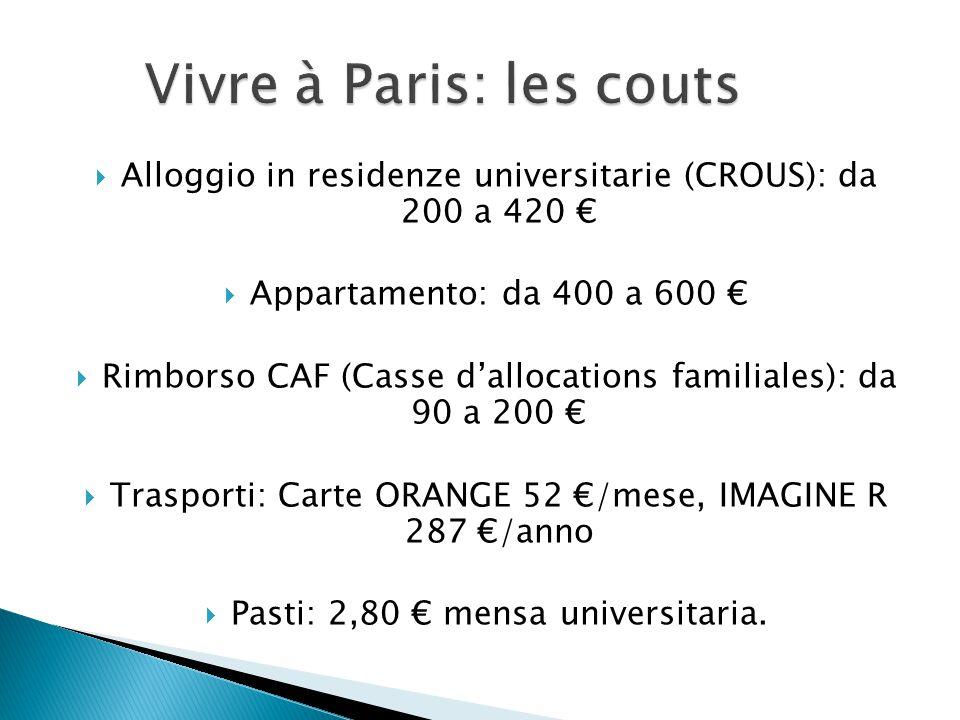  Alloggio in residenze universitarie (CROUS): da 200 a 420 €  Appartamento: da 400 a 600 €  Rimborso CAF (Casse d'allocations familiales): da 90 a 200 €  Trasporti: Carte ORANGE 52 €/mese, IMAGINE R 287 €/anno  Pasti: 2,80 € mensa universitaria.