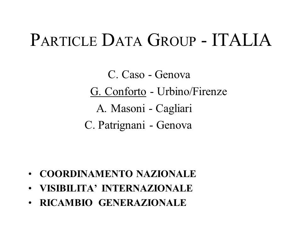 P ARTICLE D ATA G ROUP - ITALIA C. Caso - Genova G. Conforto - Urbino/Firenze A. Masoni - Cagliari C. Patrignani - Genova COORDINAMENTO NAZIONALE VISI