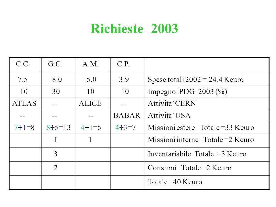 C.C. G.C. A.M. C.P. 7.5 8.0 5.0 3.9Spese totali 2002 = 24.4 Keuro 10 30 10 Impegno PDG 2003 (%) ATLAS --ALICE --Attivita' CERN -- BABARAttivita' USA 7
