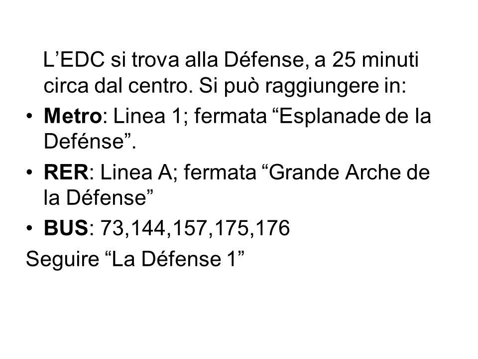 L'EDC si trova alla Défense, a 25 minuti circa dal centro.