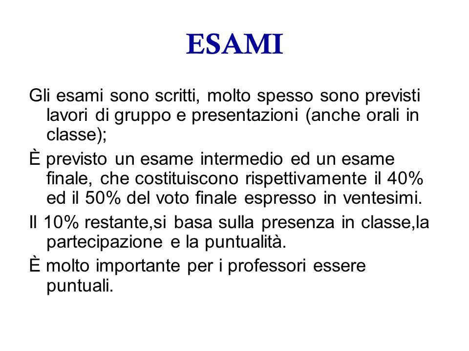 ESAMI Gli esami sono scritti, molto spesso sono previsti lavori di gruppo e presentazioni (anche orali in classe); È previsto un esame intermedio ed un esame finale, che costituiscono rispettivamente il 40% ed il 50% del voto finale espresso in ventesimi.
