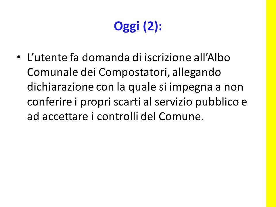 L'utente fa domanda di iscrizione all'Albo Comunale dei Compostatori, allegando dichiarazione con la quale si impegna a non conferire i propri scarti al servizio pubblico e ad accettare i controlli del Comune.
