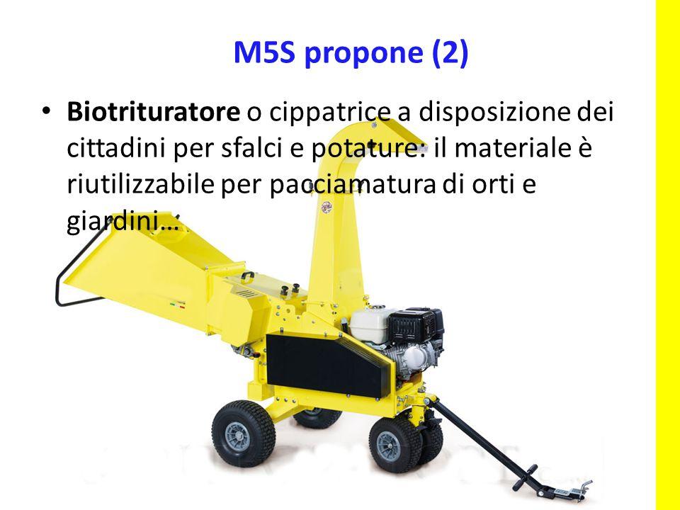 Biotrituratore o cippatrice a disposizione dei cittadini per sfalci e potature: il materiale è riutilizzabile per pacciamatura di orti e giardini… M5S