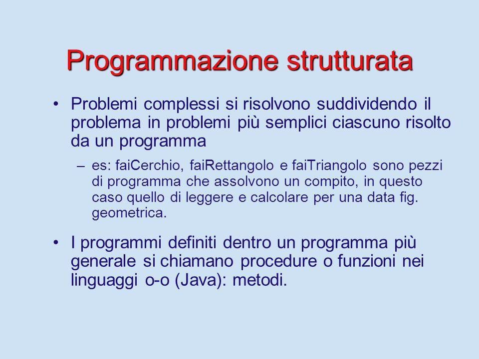 Programmazione strutturata Problemi complessi si risolvono suddividendo il problema in problemi più semplici ciascuno risolto da un programma – –es: f