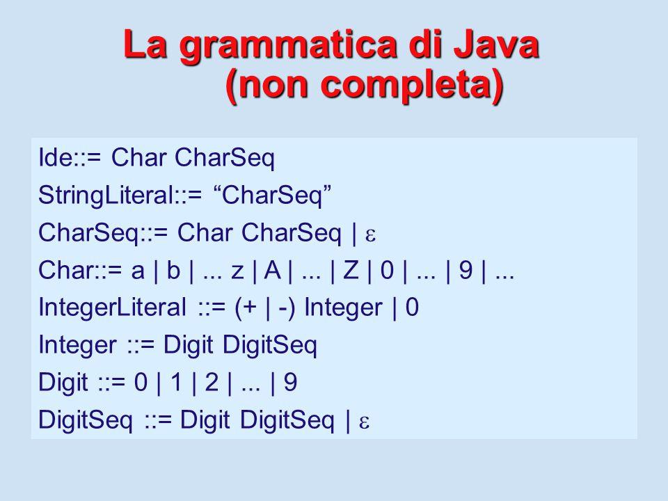 Stampa di dati in Java Stampa di dati in Java (Output) Si stampano sequenze di caratteri (String).