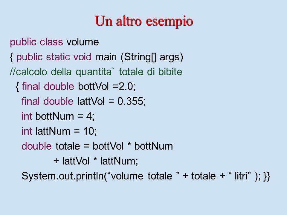 La sintassi di Java La sintassi di Java (le dichiarazioni) Declaration ::=[DescSeq] Type Ide [= Exp]; DescSeq ::= Desc DescSeq |  Desc ::= public | private | static | final Command::= System.out.print[ln](Exp) Type ::= int | boolean | double | float | char | Ide
