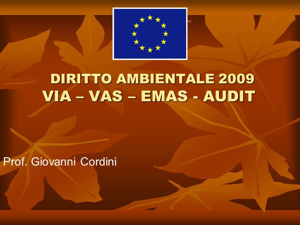 VIA – VAS – EMAS - AUDIT Prof. Giovanni Cordini DIRITTO AMBIENTALE 2009