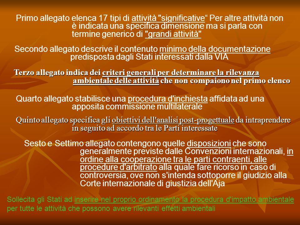 Quinto allegato specifica gli obiettivi dell'analisi post-progettuale da intraprendere in seguito ad accordo tra le Parti interessate Terzo allegato i