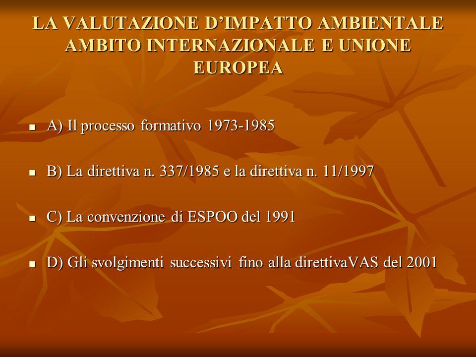 LA VALUTAZIONE D'IMPATTO AMBIENTALE AMBITO INTERNAZIONALE E UNIONE EUROPEA A) Il processo formativo 1973-1985 A) Il processo formativo 1973-1985 B) La