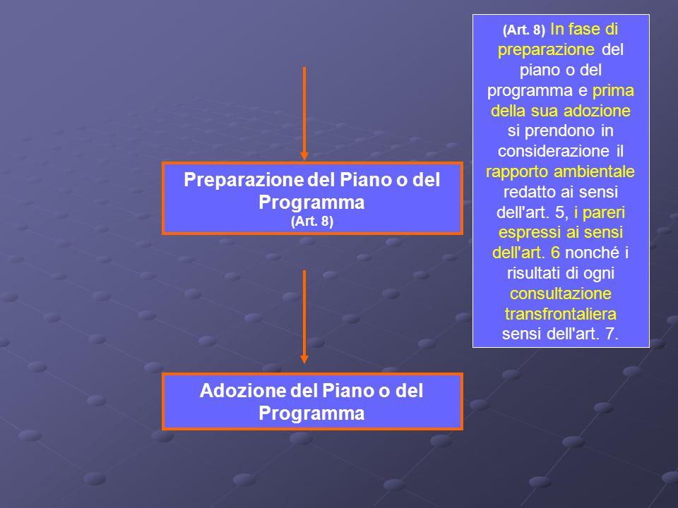 (Art. 8) In fase di preparazione del piano o del programma e prima della sua adozione si prendono in considerazione il rapporto ambientale redatto ai
