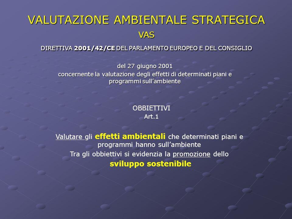 VALUTAZIONE AMBIENTALE STRATEGICA del 27 giugno 2001 concernente la valutazione degli effetti di determinati piani e programmi sull'ambiente OBBIETTIV