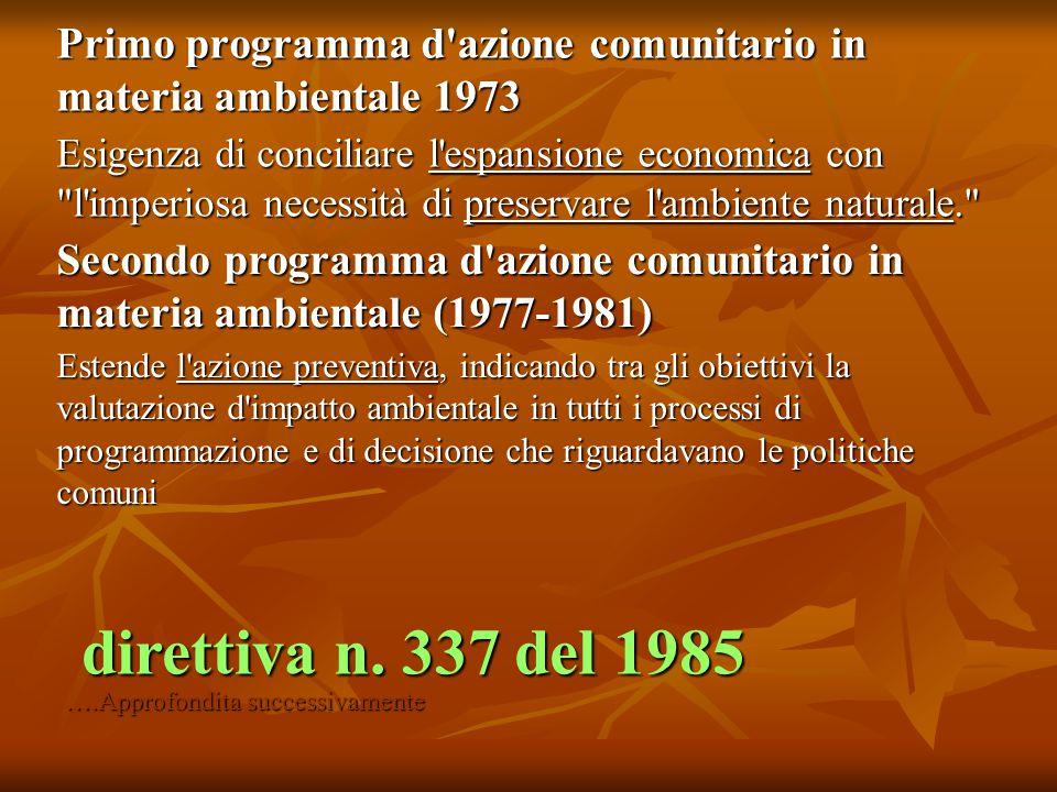 Primo programma d'azione comunitario in materia ambientale 1973 Esigenza di conciliare l'espansione economica con