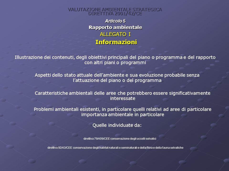 VALUTAZIONE AMBIENTALE STRATEGICA DIRETTIVA 2001/42/CE Articolo 5 Rapporto ambientale ALLEGATO I Informazioni Informazioni Illustrazione dei contenuti