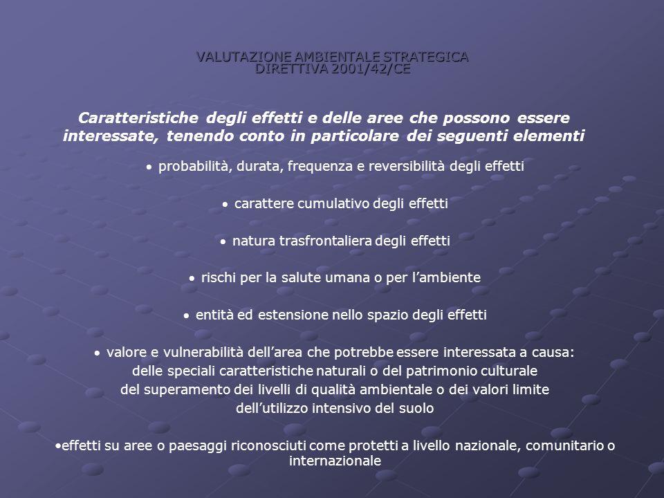 VALUTAZIONE AMBIENTALE STRATEGICA DIRETTIVA 2001/42/CE Caratteristiche degli effetti e delle aree che possono essere interessate, tenendo conto in par