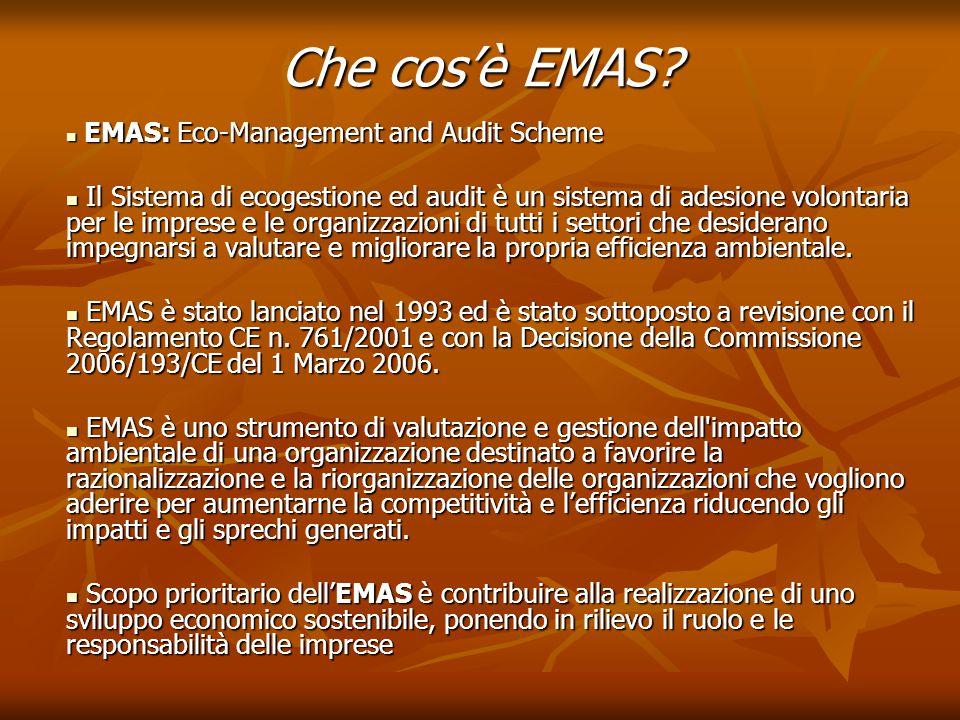 Che cos'è EMAS? EMAS: Eco-Management and Audit Scheme EMAS: Eco-Management and Audit Scheme Il Sistema di ecogestione ed audit è un sistema di adesion